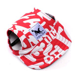 Dog baseball cap in red with white graffiti style writing