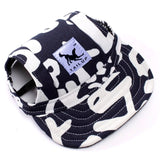 Dog baseball cap in blue with white graffiti style writing