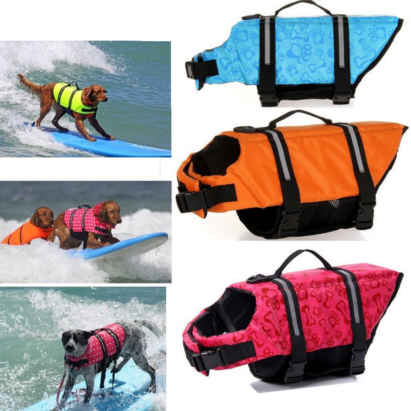 3 dog life jackets in assorted colors