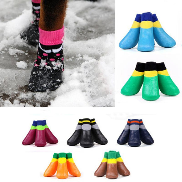 Waterproof dog socks in assorted colors