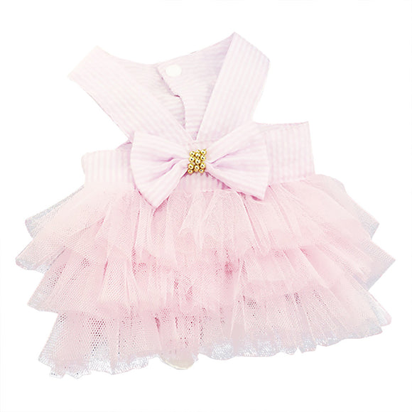 Pink seersucker and tulle dog dress