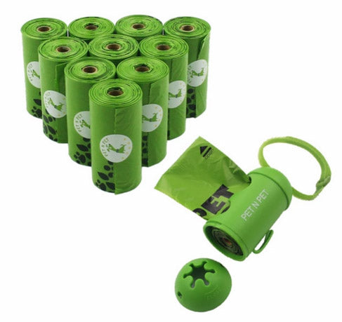 10 Rolls Earth-Friendly Dog Waste Bags w/ Dispenser (Green)