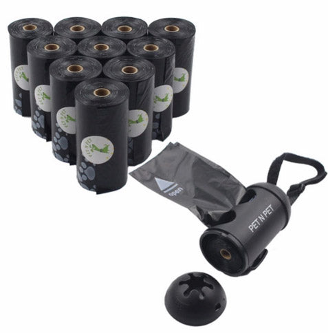 10 Rolls Earth-Friendly Dog Waste Bags w/ Dispenser (Black)