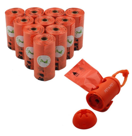10 Rolls Earth-Friendly Dog Waste Bags w/ Dispenser (Orange)