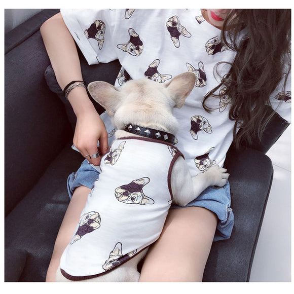 Human and dog matching Frenchi Print shirts in white