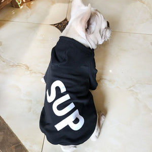 "Human and dog matching ""SuP"" hoodies in black"