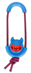 Squeak-n-Treat Rope Launcher Dog Toy in assorted colors