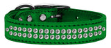 Metallic green dog collar with crystals