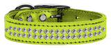 Metallic lime dog collar with crystals