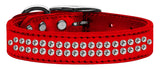 Metallic red dog collar with crystals