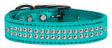 Metallic turquoise dog collar with crystals