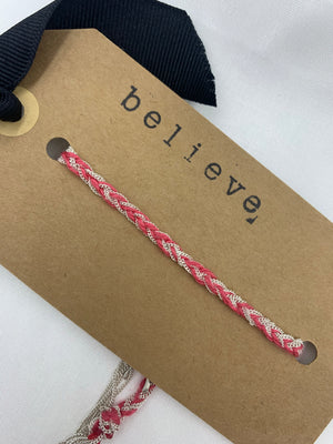 BELIEVE BRACELET- TRUE PINK