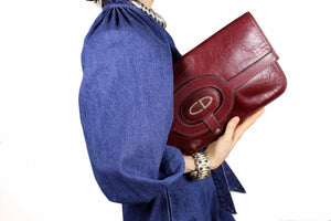 CHRISTIAN DIOR burgundy leather handbag