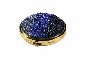 Powder compact case blue strass