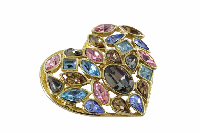 YVES SAINT LAURENT multicolor heart brooch