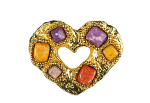 CHRISTIAN LACROIX heart multicolor stones brooch