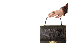 CROCO-PARK brown glossy crocodile skin handbag