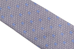 HERMÈS gray bears silk tie