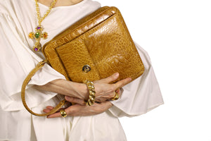 Caramel color turtle skin handbag