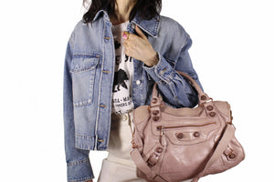 BALENCIAGA Classic City pink leather bag