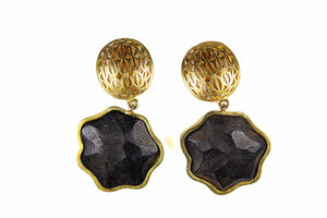 LANVIN filigree wooden earrings