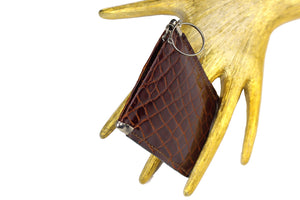 Brown crocodile skin case key chain