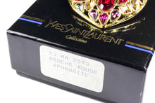 YVES SAINT LAURENT gold heart multicolor rhinestone brooch