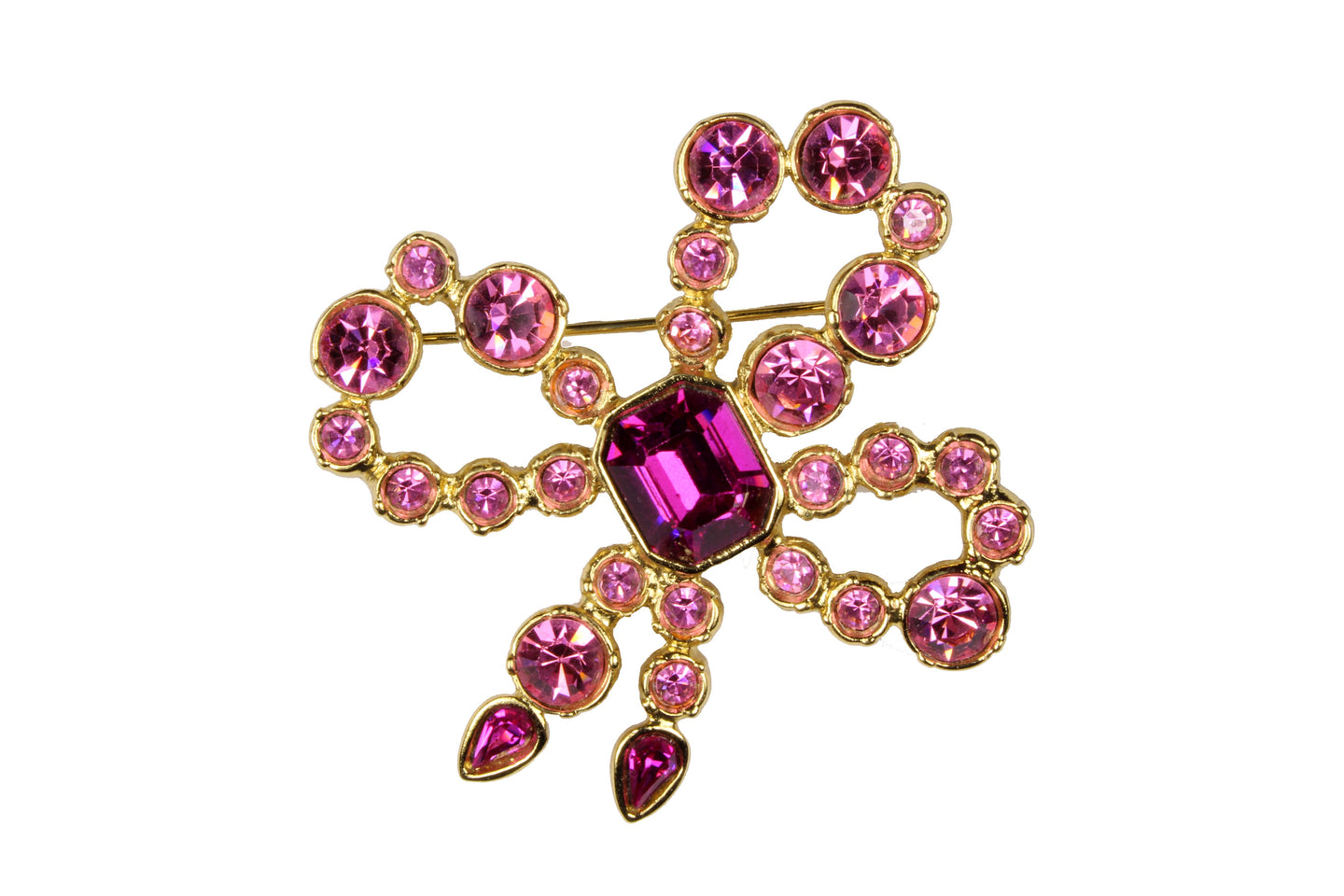 YVES SAINT LAURENT pink bow brooch