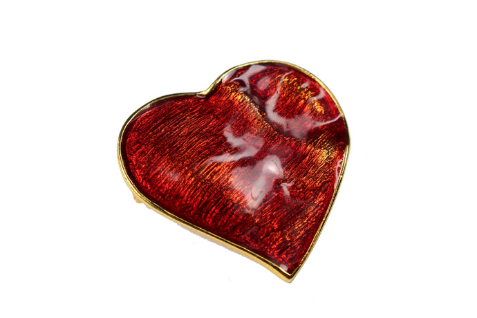 YVES SAINT LAURENT red heart brooch pendant