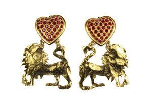 YVES SAINT LAURENT Rive Gauche lions red hearts earrings
