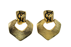 YVES SAINT LAURENT ribbed Logo earrings