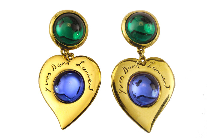 YVES SAINT LAURENT heart cabochons earrings