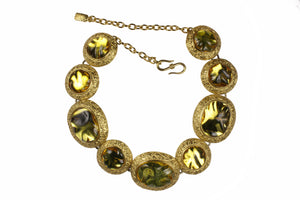 YVES SAINT LAURENT amber cabochons necklace