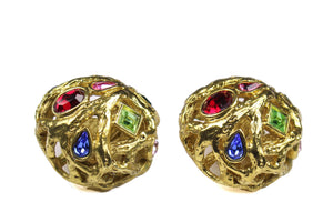 YVES SAINT LAURENT button earrings multicolor stones