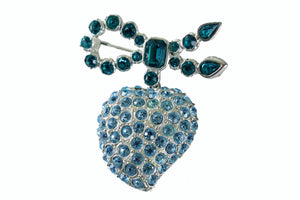 YVES SAINT LAURENT ligth blue heart brooch