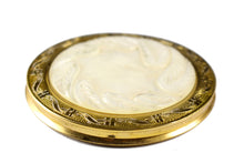 Powder compact case engraved mother of pearl