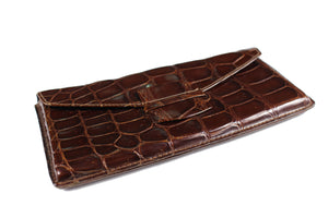 Brown glossy crocodile skin walet