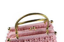 Pink raffia and beads handbag