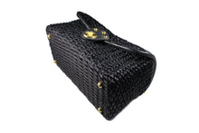 Black woven raffia box purse with metal handle