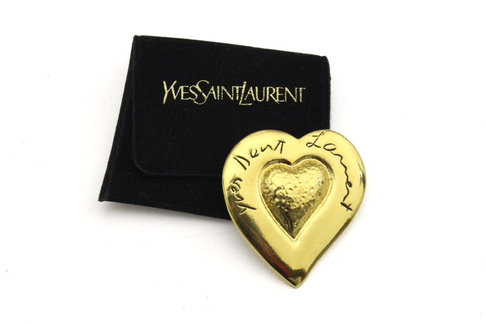 YVES SAINT LAURENT heart brooch