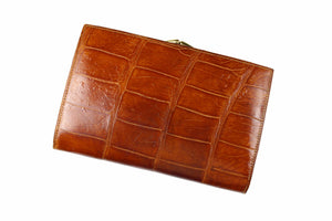 Cognac crocodile skin coin purse