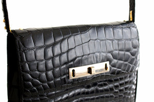 LOEWE black crocodile skin flap handbag single handle