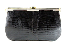 Brown baby crocodile skin frame clutch