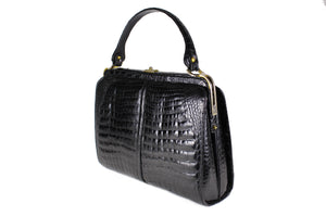 "Black large ""sauvage"" crocodile bag"