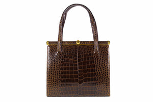 LUCILLE DE PARIS brown crocodile skin handbag double handle