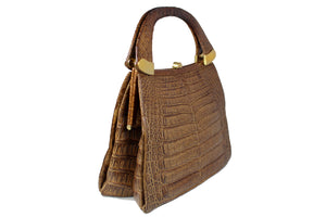 Tobacco color crocodile skin handbag with double handle