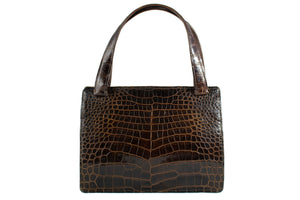 Double back baby crocodile handbag with double handle