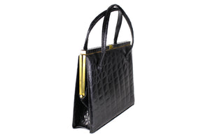 DEAUVILLE black crocodile skin handbag with twin handles