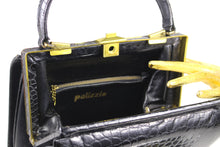 PALIZZIO black crocodile skin handbag with single handle