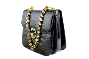 Black crocodile skin bag with adjustable chain handle